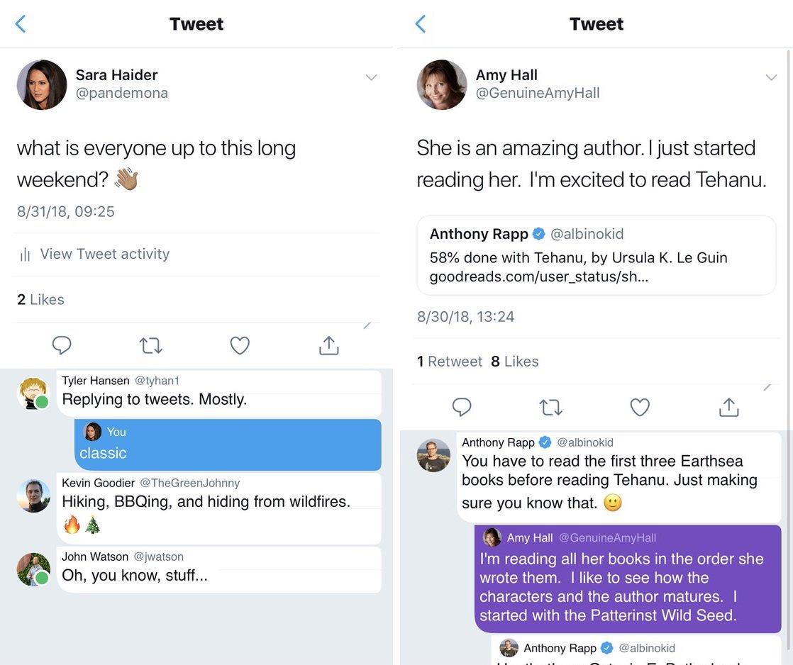 O Twitter está preparando um novo visual para respostas a um tweet: elas parecem comentários em um post, e suas replies ganham um fundo colorido de destaque.  Isso não está sendo distribuído aos usuários; é um conceito mostrado por Sara Haider (@pandemona), executiva do Twitter.