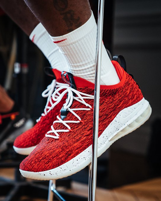 """superior quality 947a2 4a058 solewatch: @kingjames wearing the """"university red"""" nike ..."""