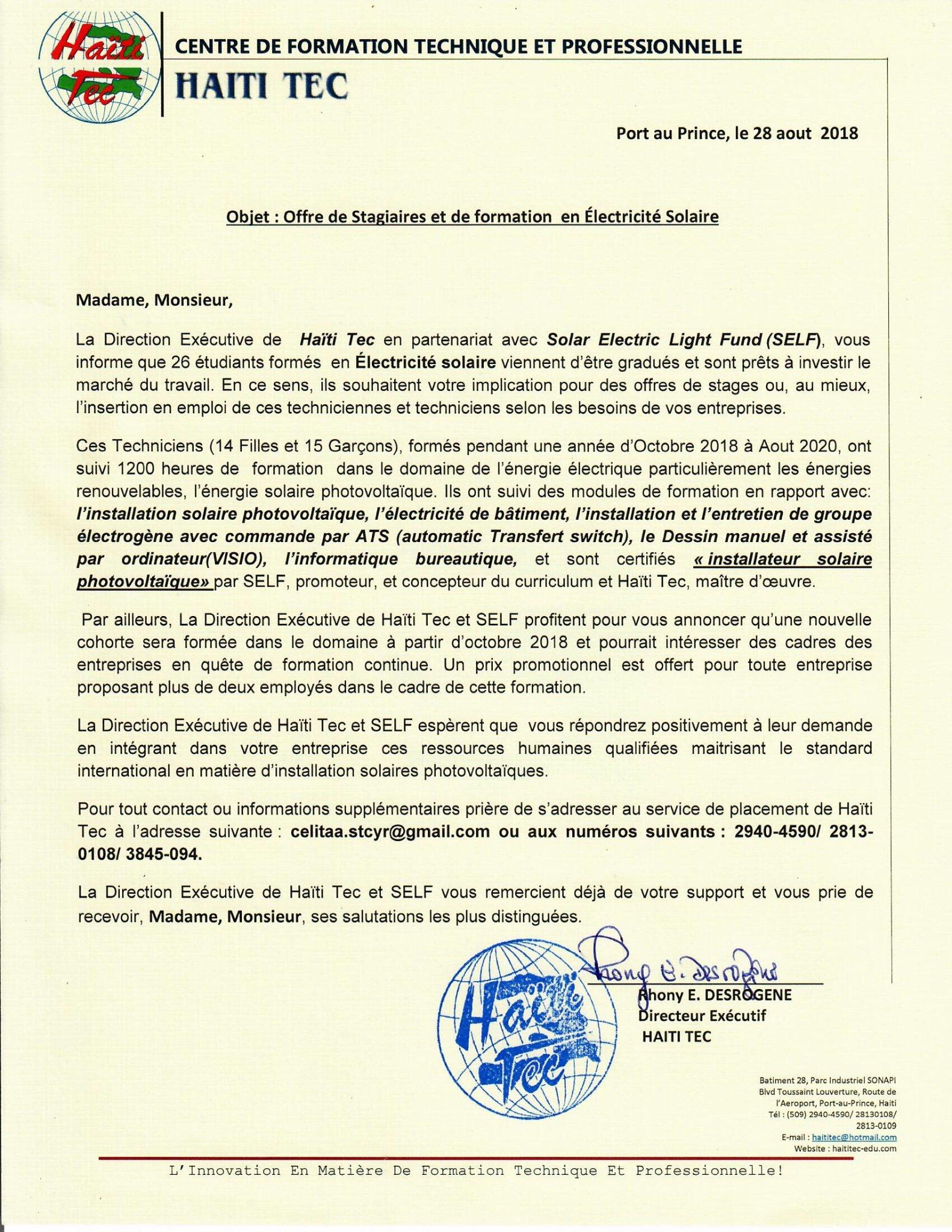Adih On Twitter Haiti Tec Offre Des Stagiaires Et La