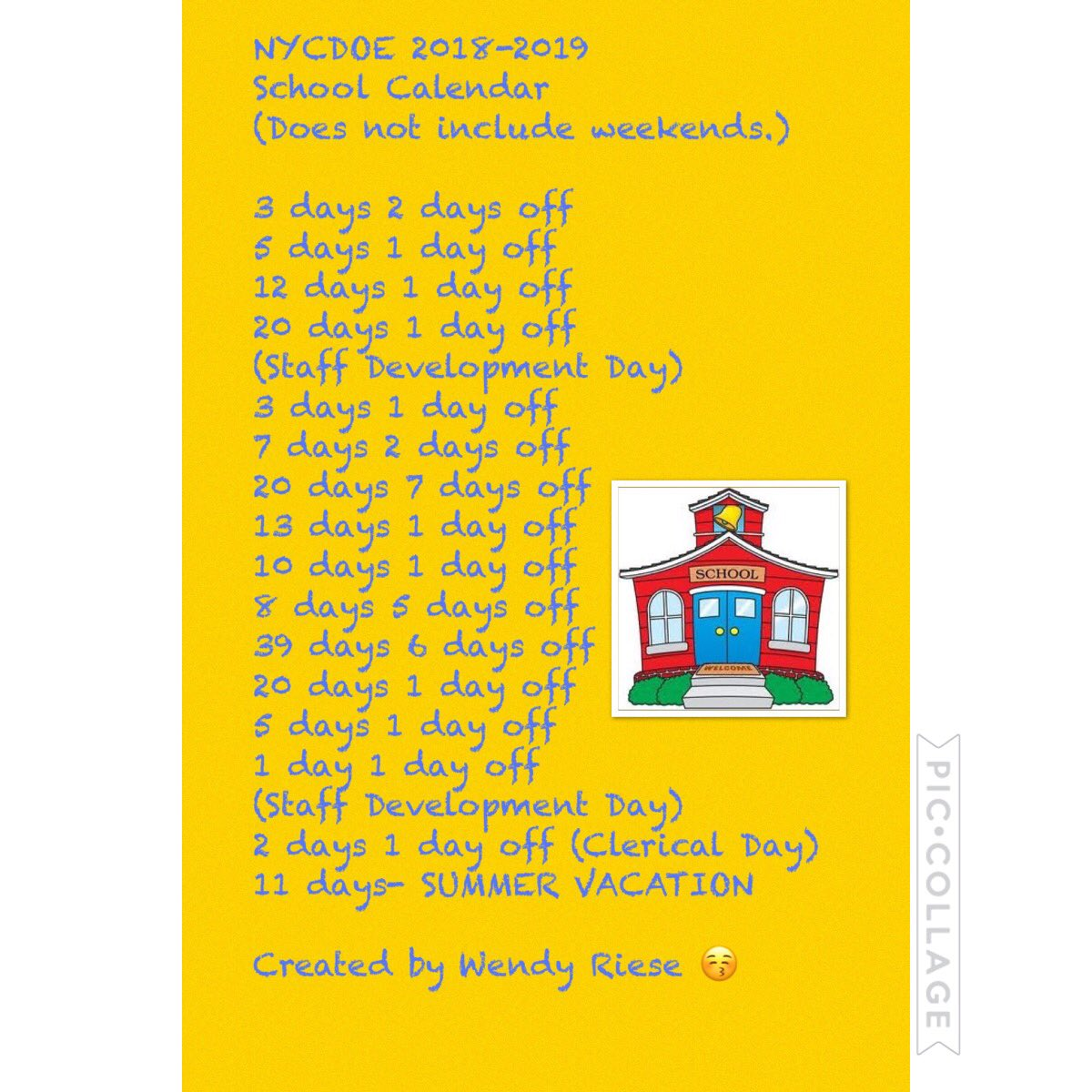 Nycdoe 2014-2019 Calendar Media Tweets by Wendy Riese (@wenrie24) | Twitter