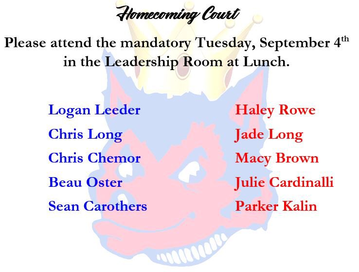 Congratulations to our homecoming candidates!!