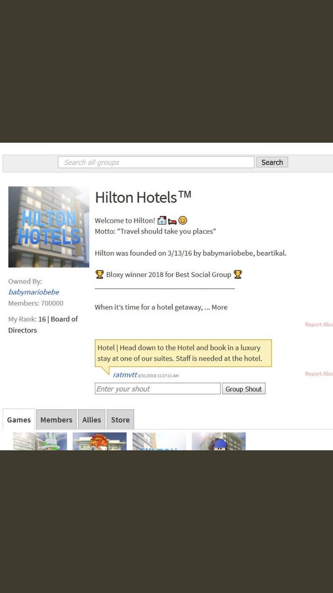 Roblox Hilton Hotel Ranks