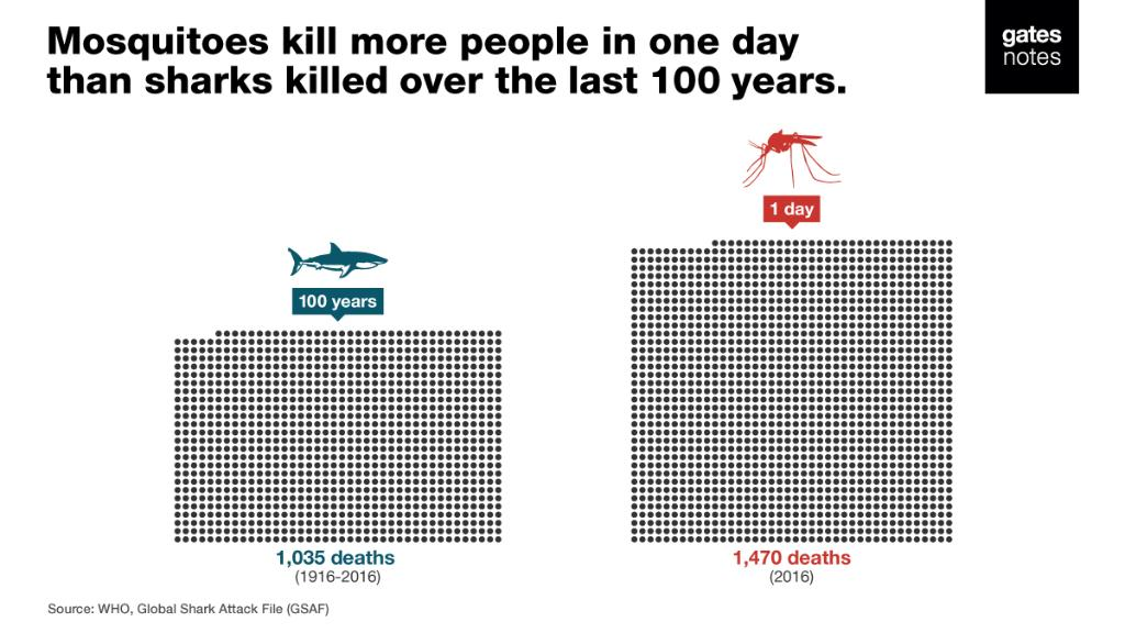 I hate mosquitoes. The diseases they spread kill more than half a million people every year. In fact, mosquitoes kill more people in one day than sharks kill in 100 years: https://t.co/r81u9DDB2B #WorldMosquitoDay