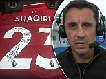 Xherdan Shaqiri taunts Gary Neville with Liverpool shirt after losing bet with goalz24.com/post/102359 #MUFC #CFC #lufc