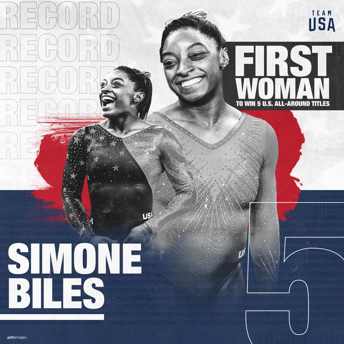 BREAKING: @Simone_Biles is the FIRST woman to win FIVE U.S. all-around titles. 🏆#USGymChamps #SCS2018