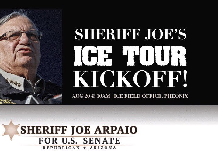 Tomorrow morning we will be launching our Mobile Command Center. The State tour will begin by the ICE Field Office Downtown Phoenix. Hollywood misfits like @jimmykimmel &amp; #RosieODonnell want to demolish @ICEgov . If they have the guts, join me.<br>http://pic.twitter.com/X5zWMAuXIv