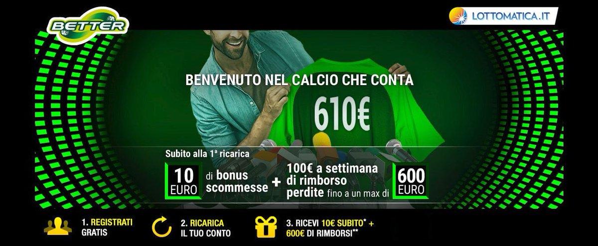 Apri un conto gioco su Better ed approfitta del NUOVO #BONUS di Benvenuto per le tue #Scommesse   Per te 10€ subito + 100€ a Settimana di Rimborso fino a 600€   Registrati cliccando qui:  http://bit.ly/LottomaticaTW  - Ukustom
