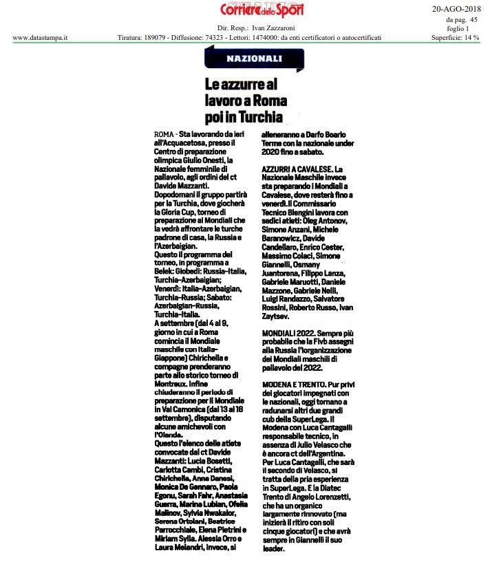 La #rassegnastampa di oggi! Tutte le news sul mondo del #volley   https://bit.ly/2wcPUCc  #20agosto  - Ukustom