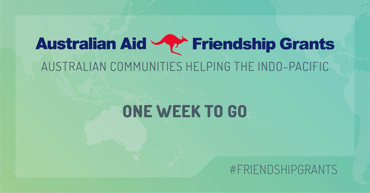 There's just one week left to get your organisation's application in for an #AustralianAid #FriendshipGrant. Find out more dfat.gov.au/friendshipgran…