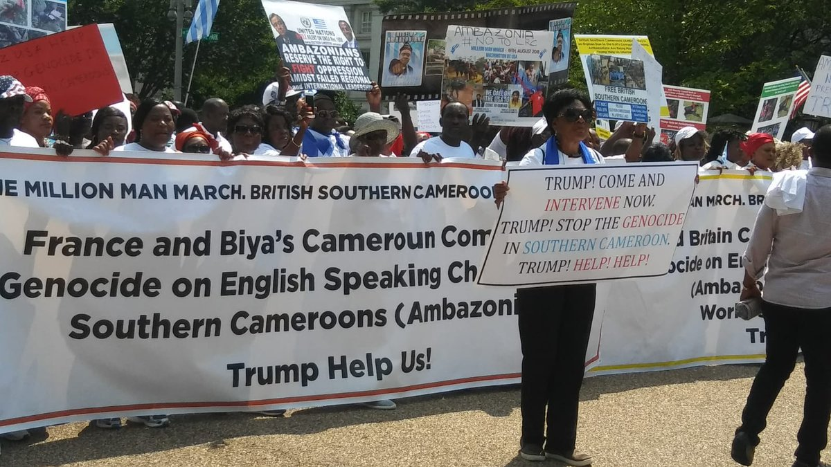 On #Cameroon, banner in DC calling out France (& UK and UN of @AntonioGuterres) for the mass killings of Anglophones. When Inner City Press asked Guterres (& UK & France) about this, it was roughed up & now banned for life from the UN http://www.innercitypress.com/cameroon41guterrescensors081918.html…