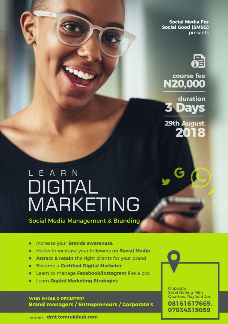 Don&#39;t miss-out this opportunity to become a Certified Digital Marketer. Register for the #SMSG Digital Marketing Training and become a pro    http://www. dmt.tomrukihub.com  &nbsp;   @tomruk_ihub @SMSGAfrica @BennyCapricorn @ObetaOdinaka @Blengkit @CystemN @OpeCole @kingston_eze @alutadarf<br>http://pic.twitter.com/XrnqhIwdZC