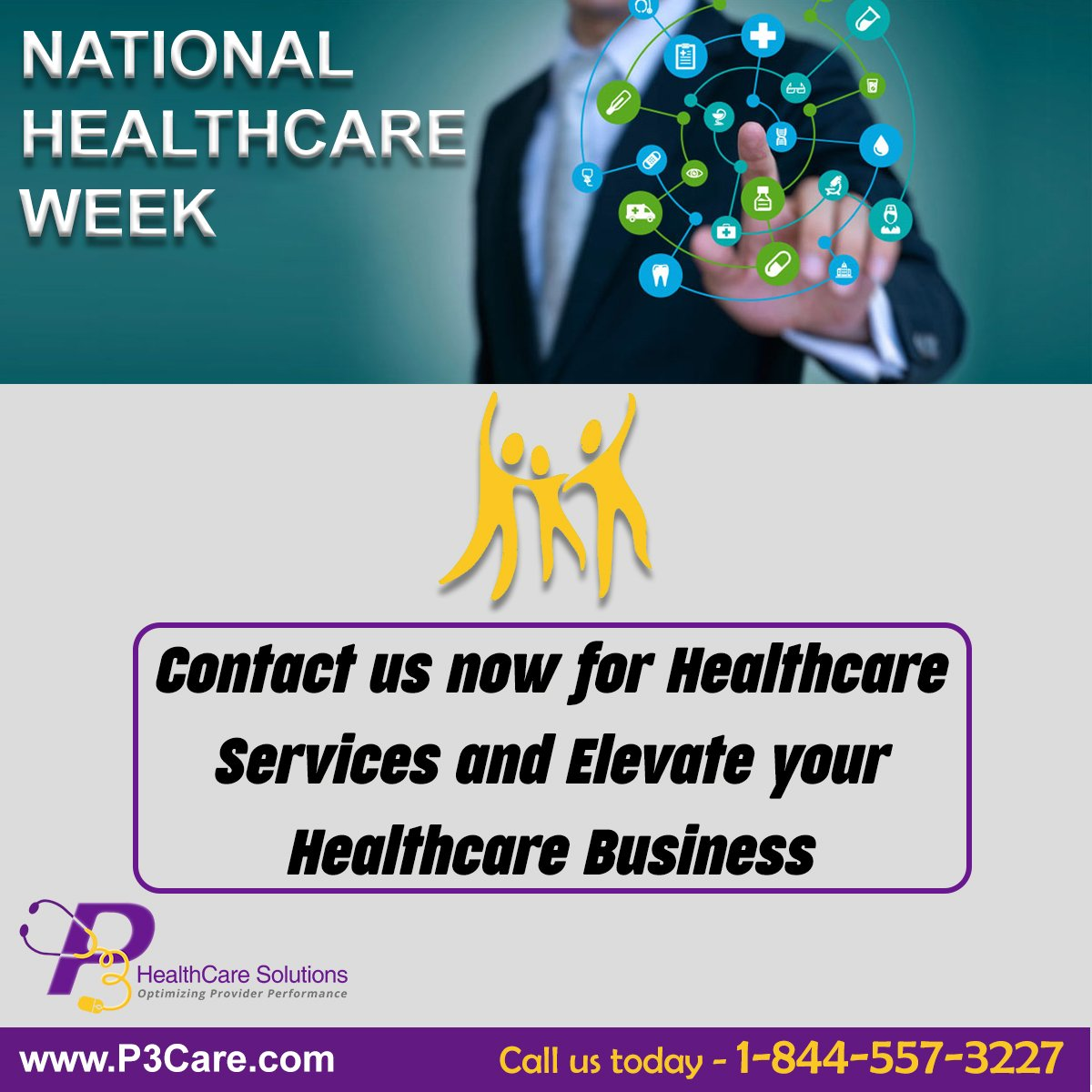 National health center week is the day of celebrating all the achievements in the healthcare industry. If you need professional health care services, contact P3Care. Call us at 1-844-557-3227 and get expertise in medical billing services. #P3Care<br>http://pic.twitter.com/4GSfspydcV