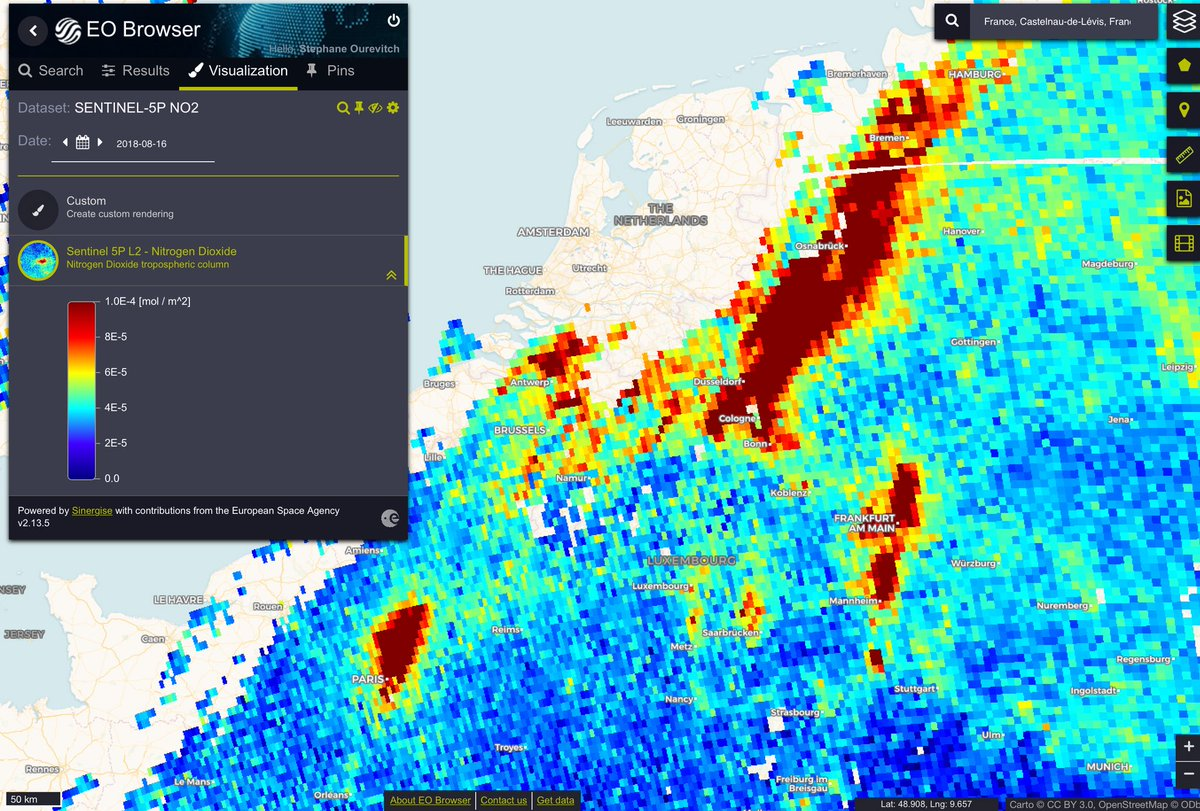 High levels of total column Nitrogen dioxide, as measured on 16 August by #Sentinel5P over #Paris, northern Belgium and western Germany.  @CopernicusECMWF forecast for tomorrow shows slight improvement for surface to 5,000 values  http:// regional.atmosphere.copernicus.eu / &nbsp;  <br>http://pic.twitter.com/UhbdT3X86W
