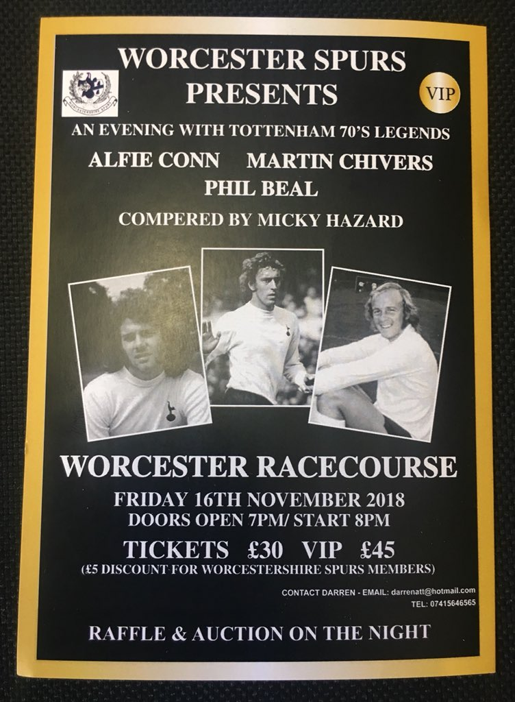 An Evening with Martin Chivers  Phil Beal &amp; Alfie Conn  Compered by @1MickyHazard   Standard &amp; VIP tickets now available  #THFC #COYS   @MrCracknell @berti1976 @chessspur @GloucesterSpurs @thespurspoet @PaulHawksbee @pezzaspurs @69229beca5f04f0<br>http://pic.twitter.com/TxhPlzonbt