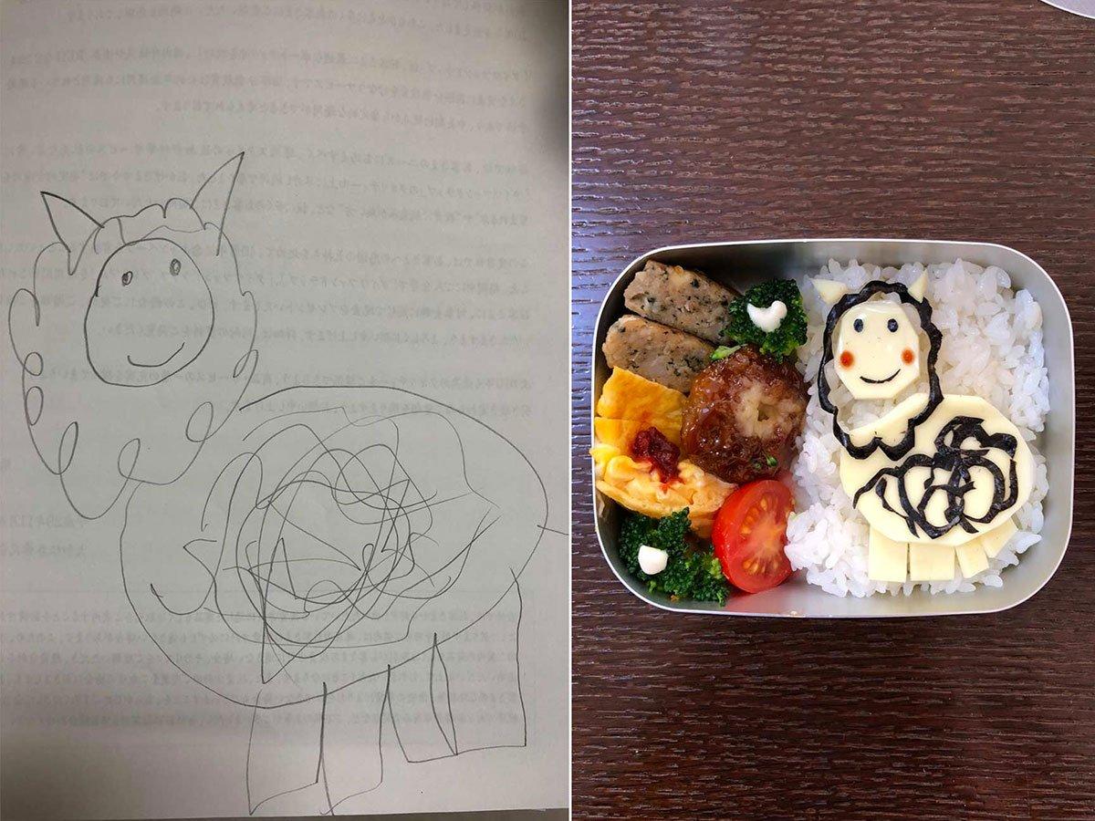 Il papà giapponese che trasforma i disegni della figlia in #bentobox. #Giappone #papà #dad #food #Japan #children #bambini Le sue squisite opere >> https://goo.gl/hjbEAE  - Ukustom