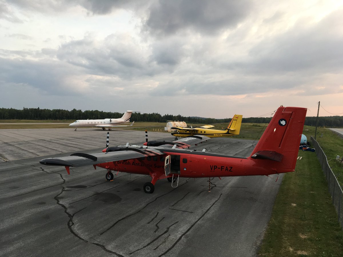 The @BAS_News Twin Otter VP-FAZ at Red Lake airport between flights over forest fires for the @KCLwildfire_EO campaign. (Photo: Gary Llewellyn, BAS)