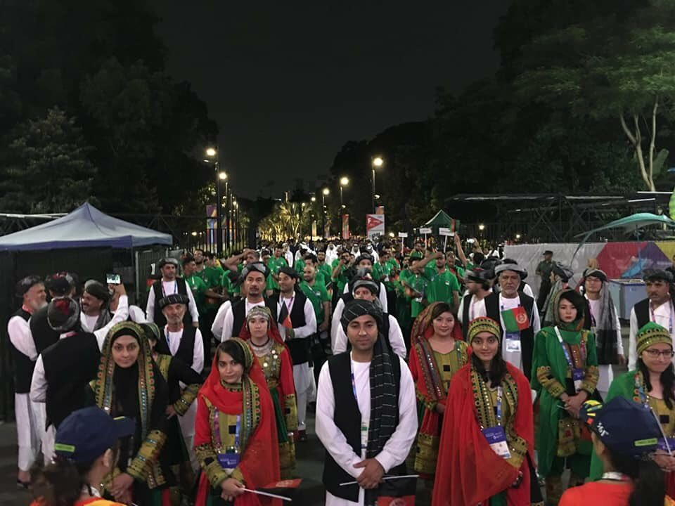 Afghanistan's athletes at the 2018 Asian Games in Jakarta before the Parade of Nations!