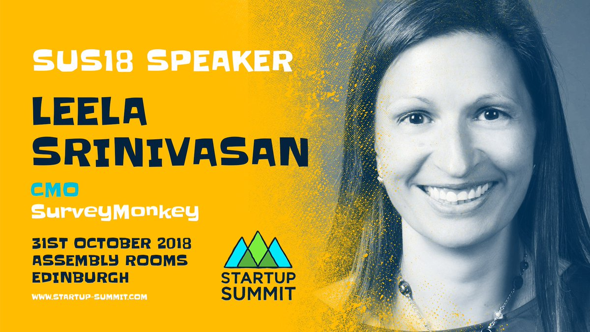 SPEAKER ANNOUNCMENT  We&#39;re delighted that @SurveyMonkey CMO @leelasrin joins us at #SUS18! Leela will be sharing some of the insight she&#39;s gained from her incredible career in Silicon Valley at companies like @LinkedIn @OpenTable &amp; @Lever!  Tickets ➪  http://www. startup-summit.com/tickets  &nbsp;  <br>http://pic.twitter.com/BjjBlDvUOY