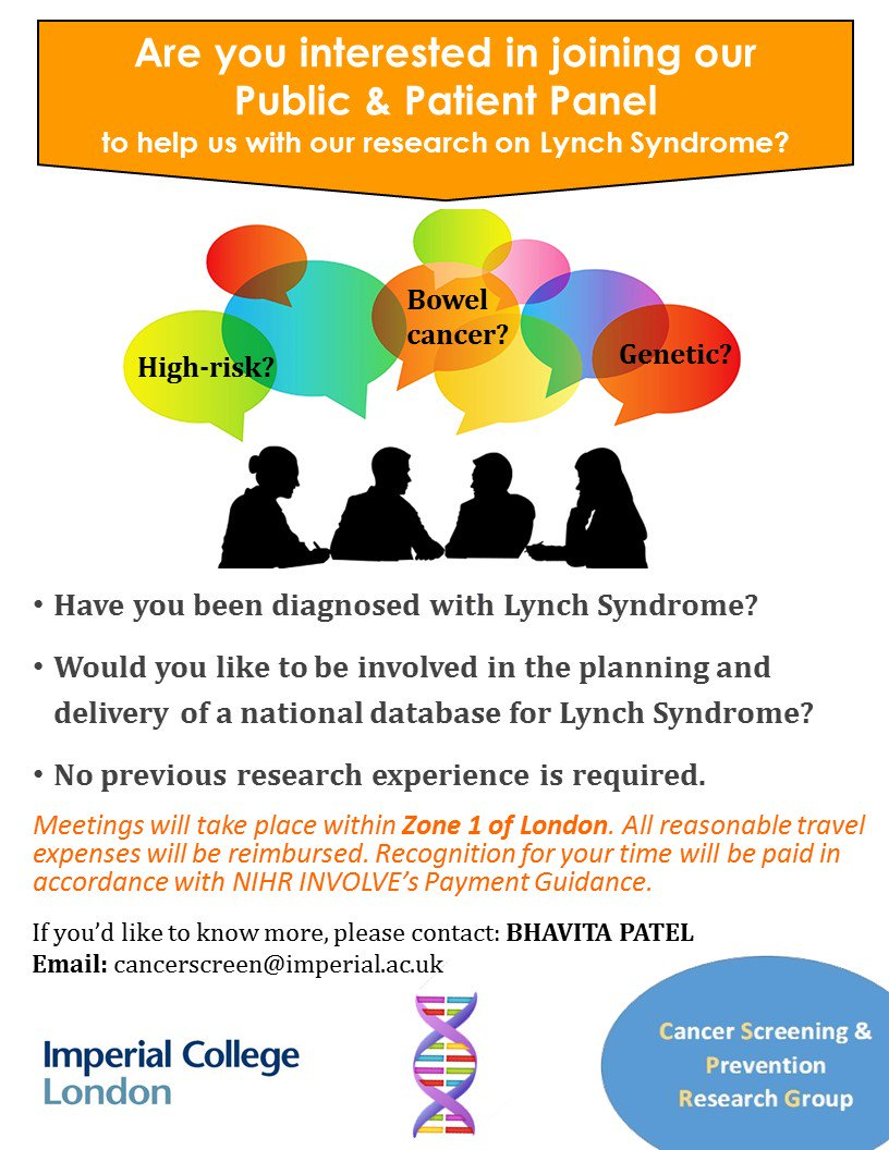 We&#39;re looking for patients &amp; lay members to get involved with our research on Lynch Syndrome. If you would like to apply, contact us for more info. Please share @LynchSyndromeUK @CaPP3 @trakgene @GutsCharityUK @haleshovis @Caraeliz24 @amusingbouches @lisa_pateman @melariffic #PPI<br>http://pic.twitter.com/iGoa14jsB8