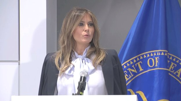 Addressing conference today on cyberbullying, First Lady Melania Trump warns that social media can be 'destructive and harmful when used incorrectly.' Says her Be Best campaign advocates teaching next generation 'how to conduct themselves safely...in an online setting.'