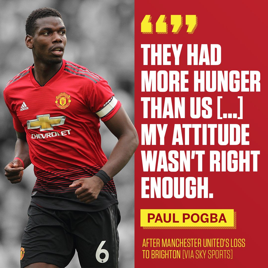 Paul Pogba owns up to his mistakes against Brighton.