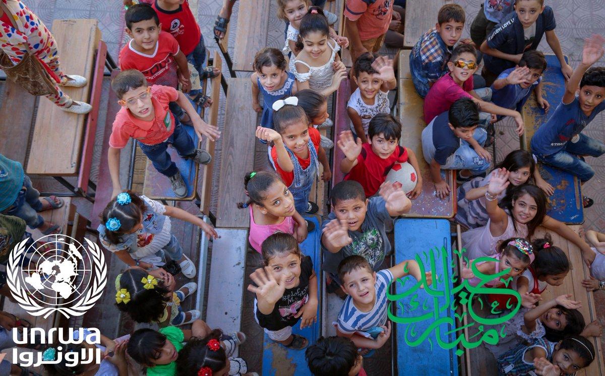 أضحى مبارك بالنيابة عن الأونروا@في سورية#. أتمنى أن يحمل هذا العيد السلام والسعادة واليمن والبركات إلى سورية# والعالم. ولحسن الحظ وعلى الرغم من الأزمة المالية التي تعاني منها الأونروا@UNRWA عاد لهؤلاء الأطفال الأمل بالعودة إلى المدرسة.