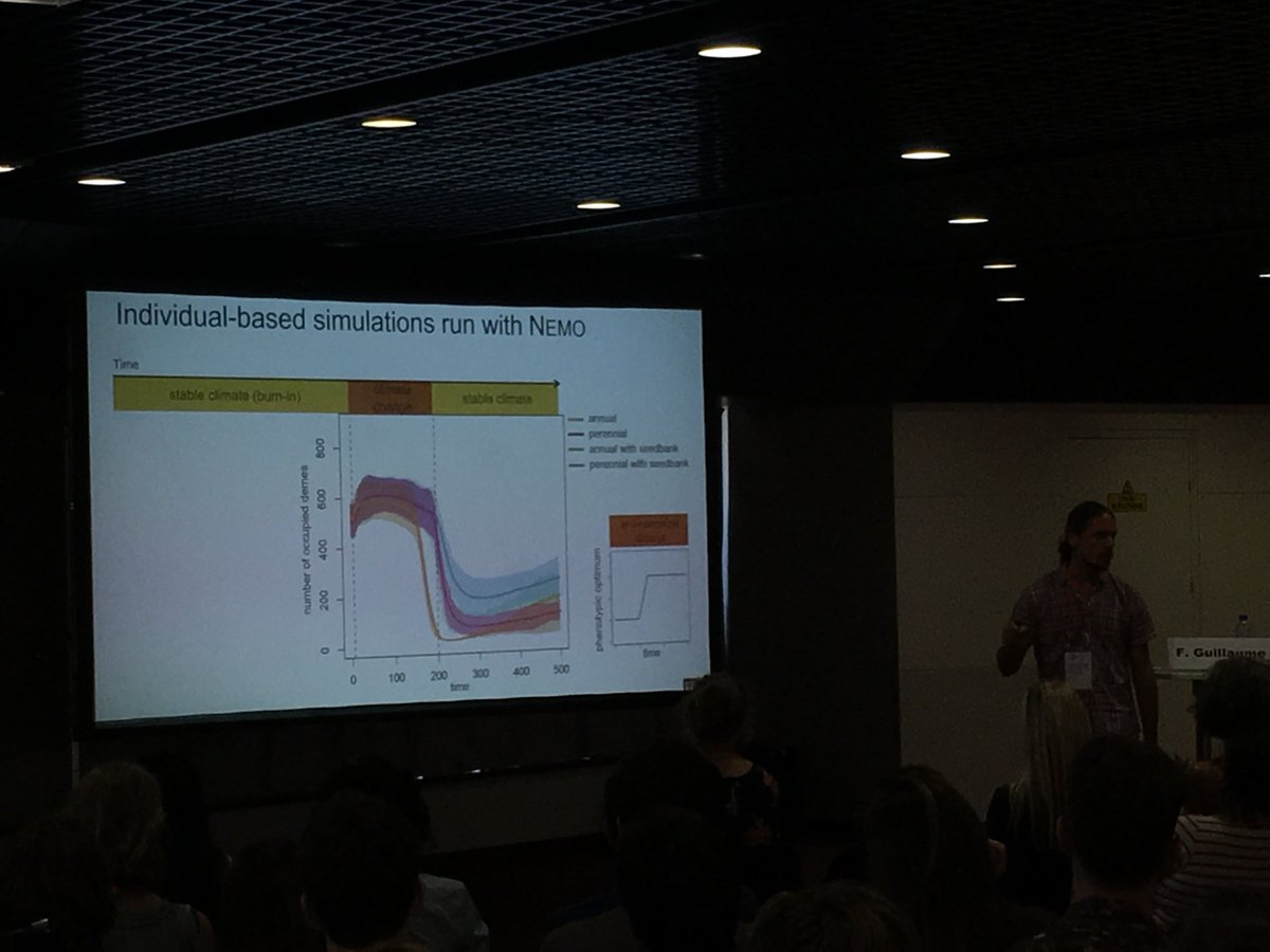 @fred_guillaume demonstrating need to start considering seedbanks in eco-evo modelling of range shifts!