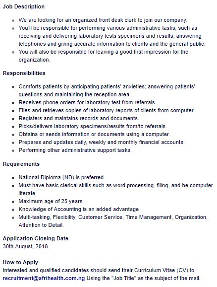 a7eb8c42c7a We are recruiting to fill the position below  Job Title  Front Desk Clerk  Location  Oyopic.twitter.com 7eHbP4pmmo
