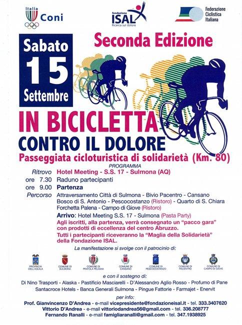 Sulmona, In Bicicletta contro il dolore: il 15 settembre la gara cicloturistica #abruzzo #notizie https://ift.tt/2OQJTCz  - Ukustom
