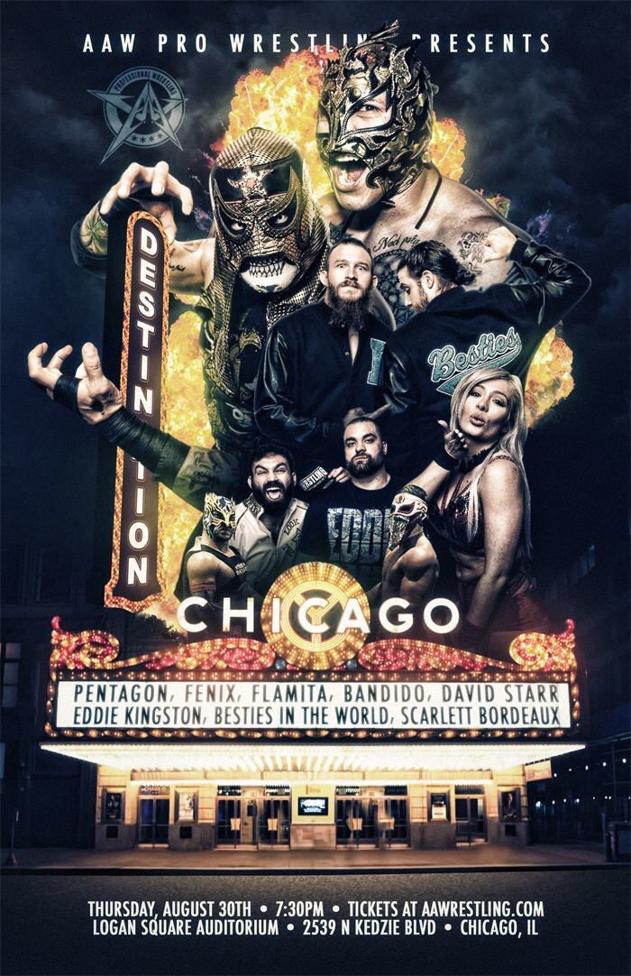 Be on the look out for talent and or match announcements for: Destination Chicago on 8/30 Defining Moment on 8/31 Seize the Day on 9/8 in LaSalle Austin 10:12 on 10/12 in Austin,TX #AAWChicago #AAWAustin