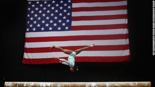 Olympic champion Simone Biles is back and she is breaking records again. On Sunday, she became the first woman to win five US Womens Gymnastics Championships all-around titles cnn.it/2BsbR5W