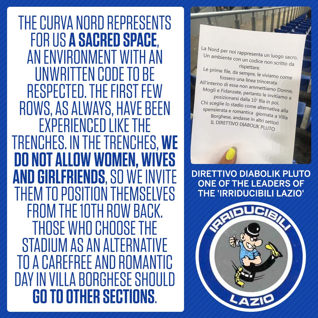 Lazio ultras call for women to be banned from parts of the Curva Nord of Romes Olympic Stadium 😨 Full story: es.pn/2nSpemp