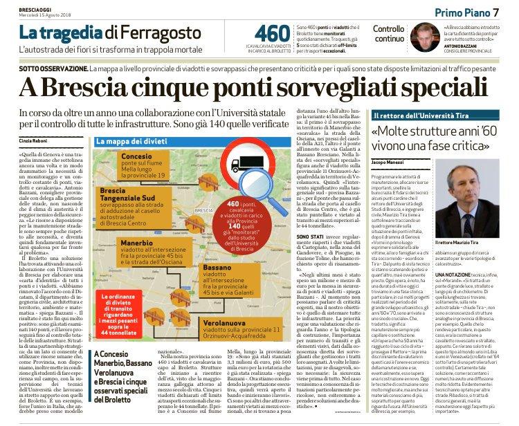 #rassegnastampa A Brescia la Provincia tiene sotto controllo oltre 500 ponti. Lo spiega il presidente della @PresProvBS @mottinelli  - Ukustom
