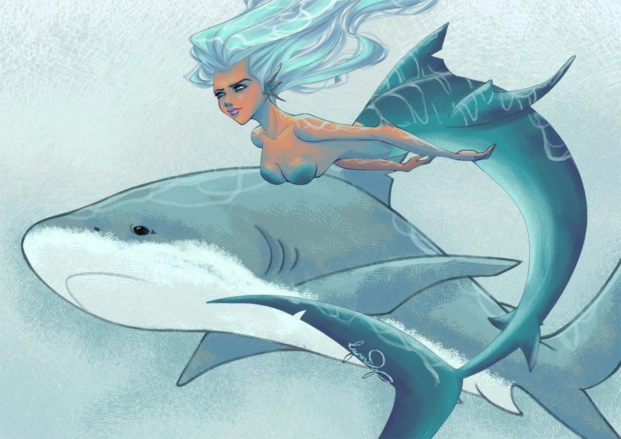Акула и русалка картинки