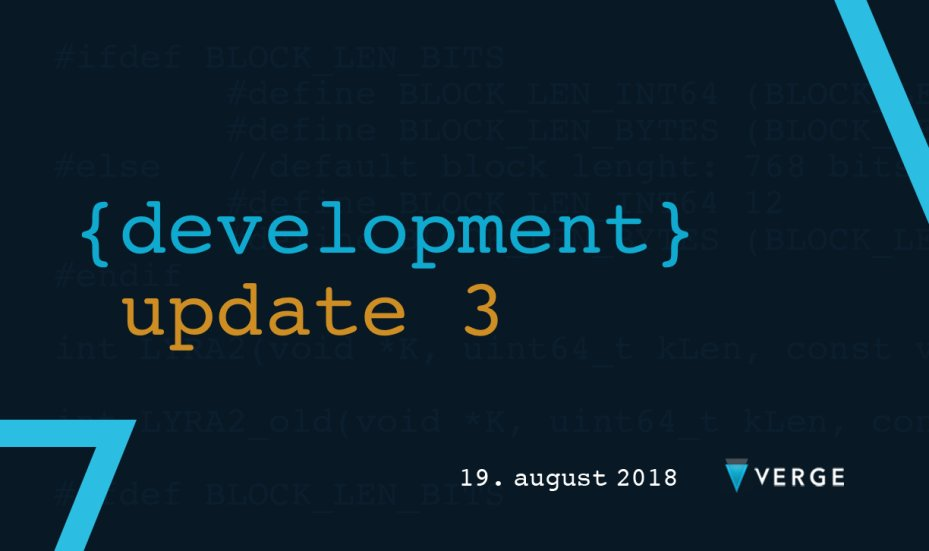 #VergeFam, here&#39;s the 3rd installment of the #development update for @vergecurrency.  @marpme_ fills us in on what&#39;s happening.  Thanks for participating in the development poll and stay tuned in for more updates! $XVG   https:// medium.com/vergecurrency/ development-update-on-verge-3-afb75e205ced &nbsp; … <br>http://pic.twitter.com/DS1JI8PcVh