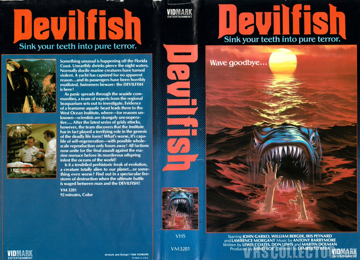 #ManiacMonday - DEVILFISH - Before #TheMeg , Italy was responsible for THIS crazed beast of nature, where a shark/squid hybrid terrorized the Florida coastline!  https://www. youtube.com/watch?v=ThP3Pe _H4Cs &nbsp; … <br>http://pic.twitter.com/SAKpKEGZz0