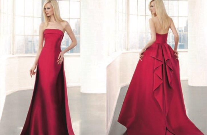 927bb1984 Maravilloso vestido de fiesta rojo palabra de honor de corte sirena con  cola diseño de Demetrios fiesta. madrina  invitada  vestido  tendencia   style  moda ...