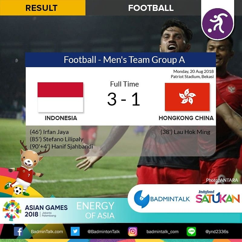 Asian Games 2018 Football - Men&#39;s Team Full Time Group A: Indonesia 3-1 Hongkong  INDONESIA WON GROUP A with 9 POINTS AND WILL FACE UAE in Round of 16!  WHAT A COMEBACK!!! KERENNN!!  SEMANGATT yaaa!! #AsianGames2018   #BadmintalkAsianGames<br>http://pic.twitter.com/DWWkxdNGik