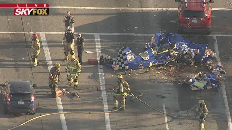 Plane crashes in roadway near Deer Valley Airport in Phoenix.