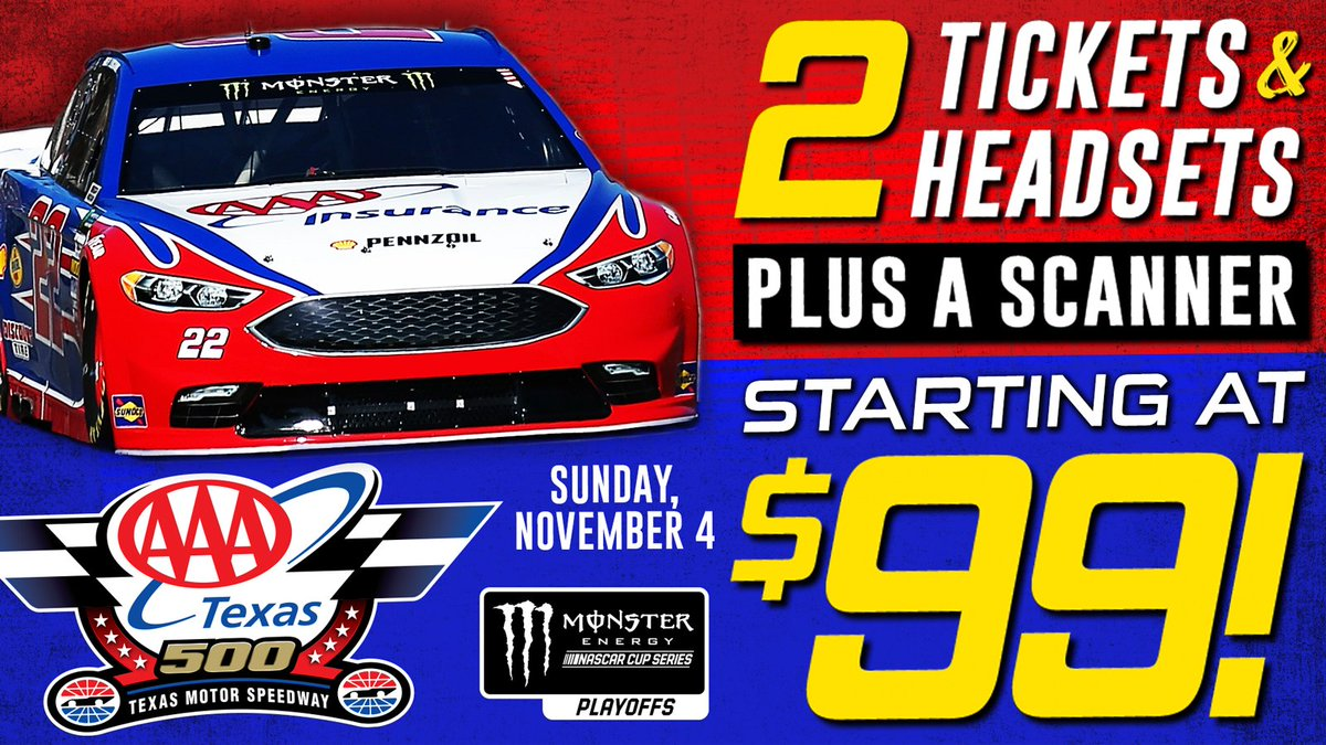 Start your week off right by locking in this DEAL for the #AAATexas500! Two tickets, two headsets & a scanner for just $99! » https://t.co/s29KHm5t3t