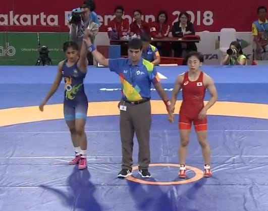 Another tournament, another medal!   India rejoices in the victory of @phogat_vinesh. Congratulations to her on winning the Gold in the 50Kg wrestling event at the @asiangames2018. Vinesh's repeated success will surely inspire upcoming athletes.