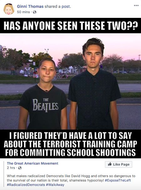 Ginni Thomas, wife of SCOTUS Justice Clarence Thomas, mocked Parkland survivors David Hogg and Emma González this morning, sharing a meme that calls them 'radicalized Democrats' who are 'dangerous to the survival of our nation' because of their 'total, shameless hypocrisy!'