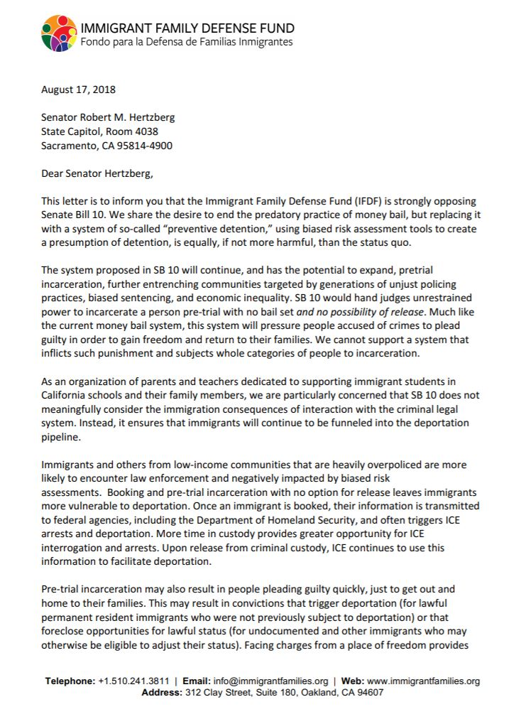 Ending money bail is critical. But #SB10 could be equally, if not more harmful, than the status quo, and risks continuing to funnel immigrants into the deportation pipeline. Our letter opposing #SB10.  https:// immigrantfamilies.org/wp-content/upl oads/2018/08/IFDF_SB10OppositionLetter.pdf &nbsp; … <br>http://pic.twitter.com/Ma5zn07ZpU