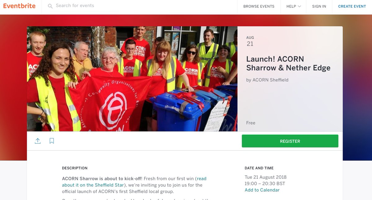 ACORN Sharrow/Nether Edge launching Tues 21st @ 7pm. Take back control, RSVP now!  https:// bit.ly/2nU26E2  &nbsp;    Defending tenant rights? Fighting for public services? Defeating the far-right?  Whatever world you want, we&#39;ll get there by building power in communities &amp; workplaces <br>http://pic.twitter.com/ufT8TV0Jwd