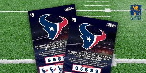 Pick up the new @HoustonTexans scratch ticket! For $5, you could win up to $100,000 instantly. Enter non-winning tickets into 2nd-chance drawings for the chance to win prizes like season tickets, an away game private plane trip, and more! #MondayMotivation #TexasLottery #Texas<br>http://pic.twitter.com/igdbJOBLYf