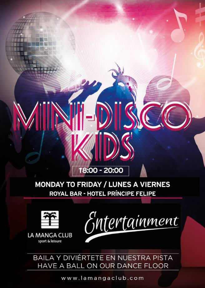 🎶🕺💃We have a new Mini Disco! Music, games and lots of fun for the little ones. We are waiting for you from Monday to Friday from 18h to 20h at the Royal Bar. #lamangaclub4kids #minidisco