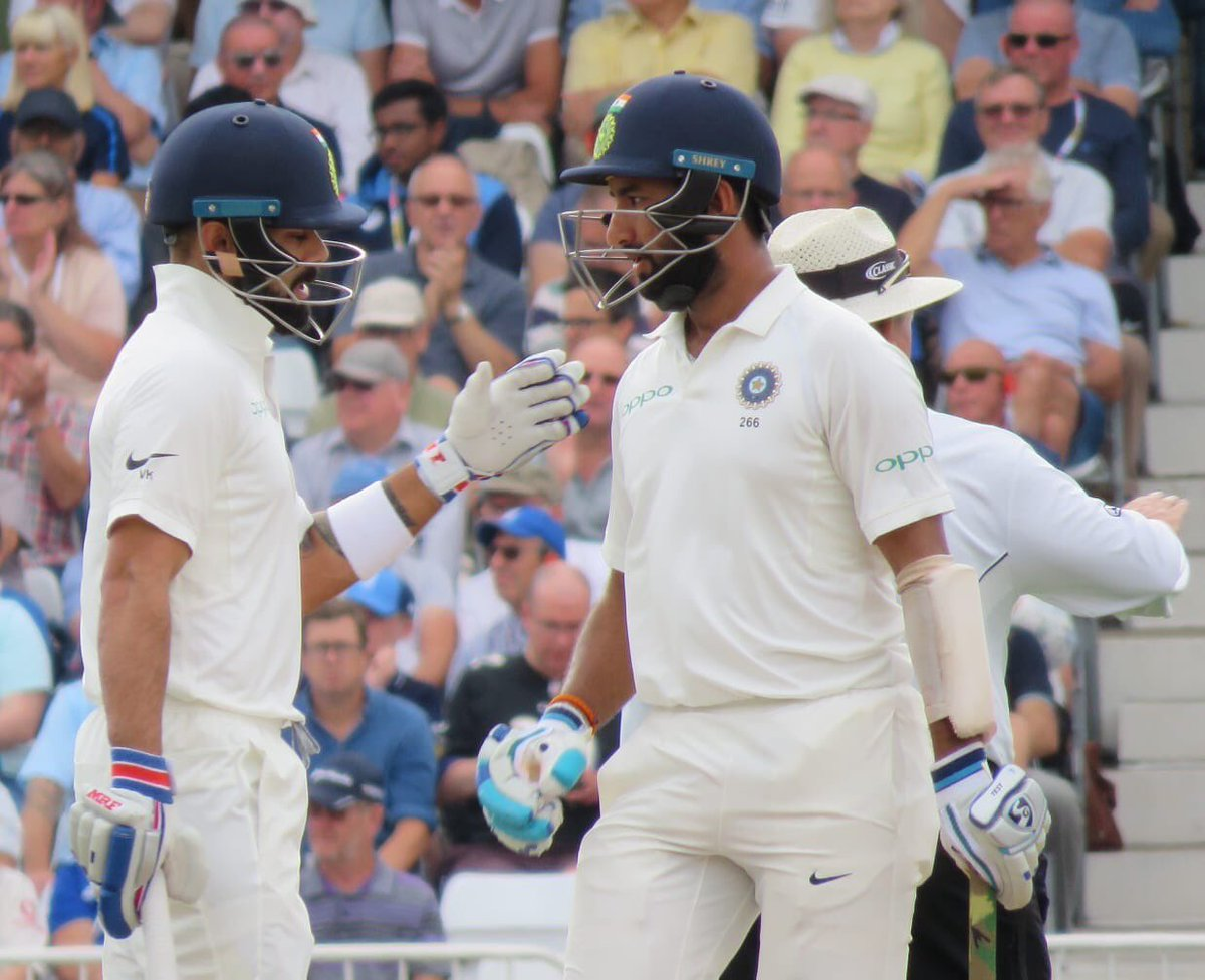 Another sublime knock by @imVkohli and a gritty one by @cheteshwar1. #TeamIndia in a really strong position to finish the game now. #ENGvIND