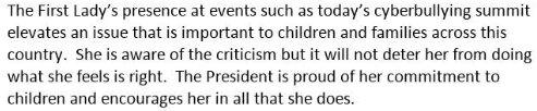 """Asked about criticism of Pres. Trump cyberbullying people with his tweets while she was giving a speech against cyberbullying this morning, a spokesperson for the First Lady says that """"she is aware of the criticism but it will not deter her from doing what she feels is right."""""""