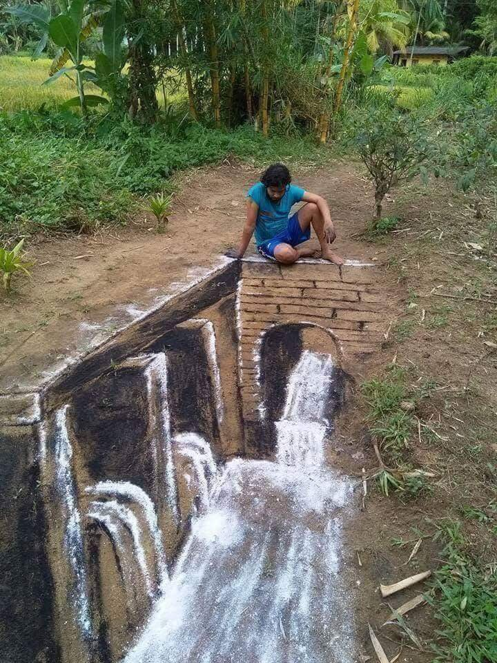 A Sri-Lankan artist drew this with charcoal and flour. If this isn't talent, I don't know what else is.