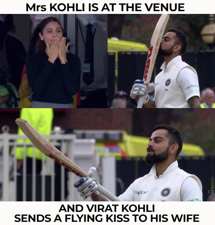 Virat Kohli celebrated his 23rd Test hundred with a flying kiss to Anushka Sharma. #ENGvsIND<br>http://pic.twitter.com/500oqT09Kk